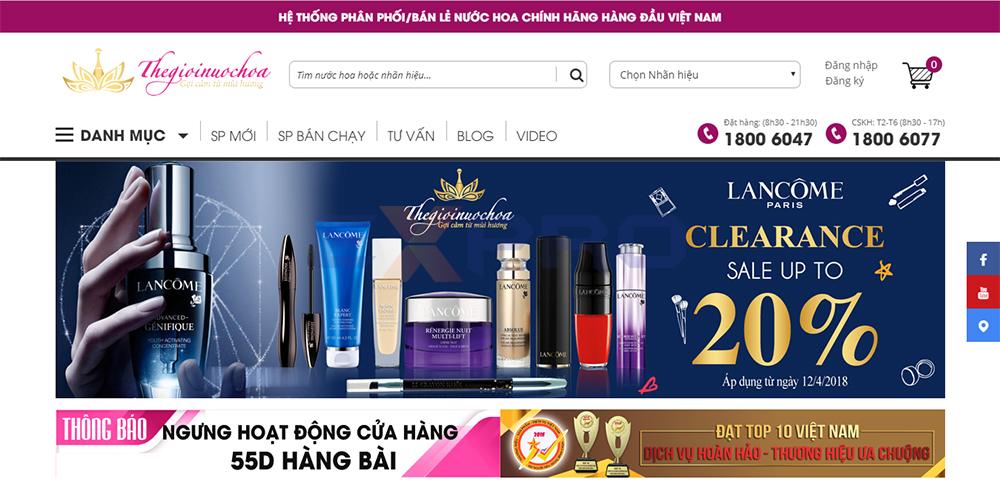 Thiết kế web shop cửa hàng bán nước hoa