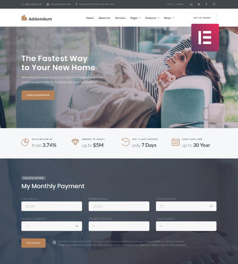 Addendum – Mortgage Company Elementor WordPress Theme