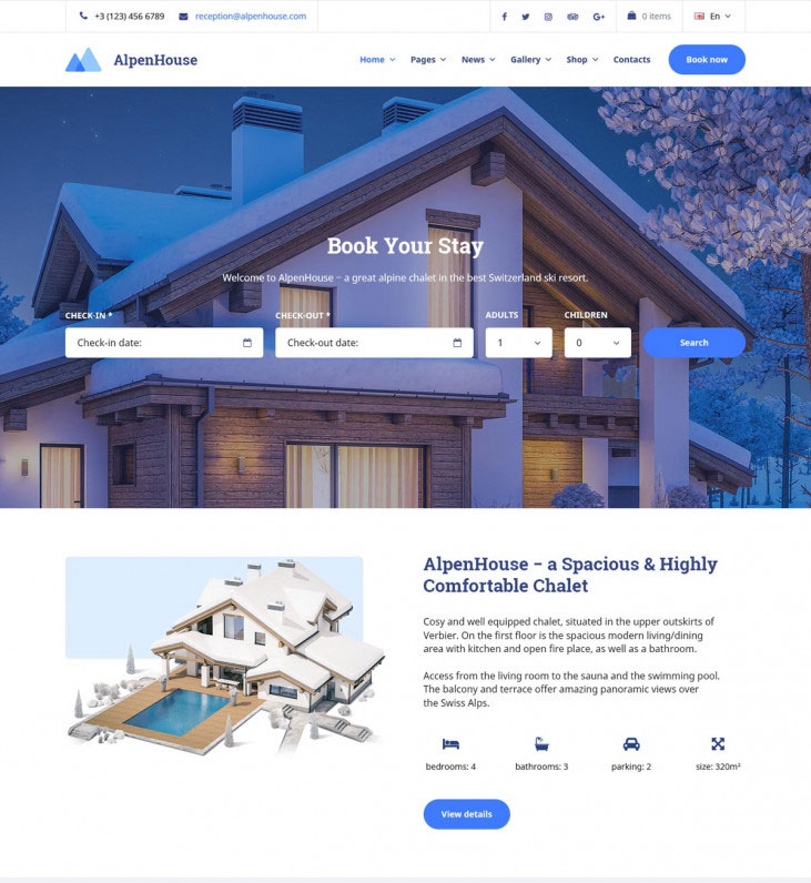 AlpenHouse – Vacation Rental WordPress Theme