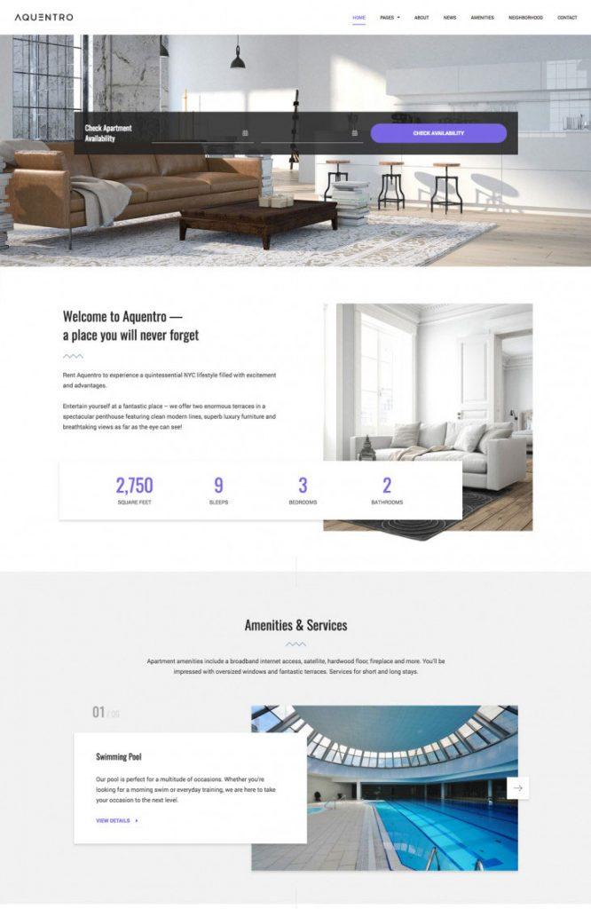 Aquentro – Single Property Rental WordPress Theme