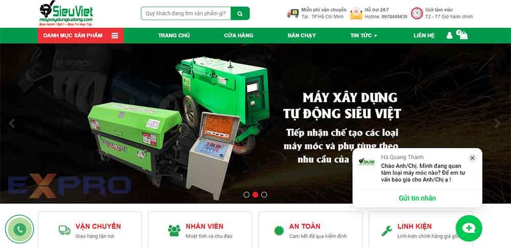 Thiết kế web bán máy móc thiết bị giá tốt