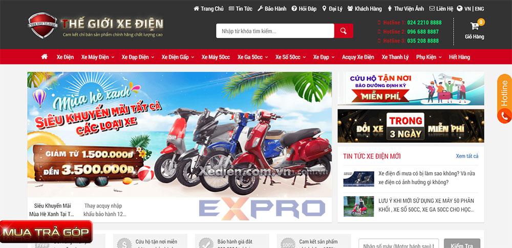 Thiết kế web bán xe máy điện giao diện đẹp mắt thu hút