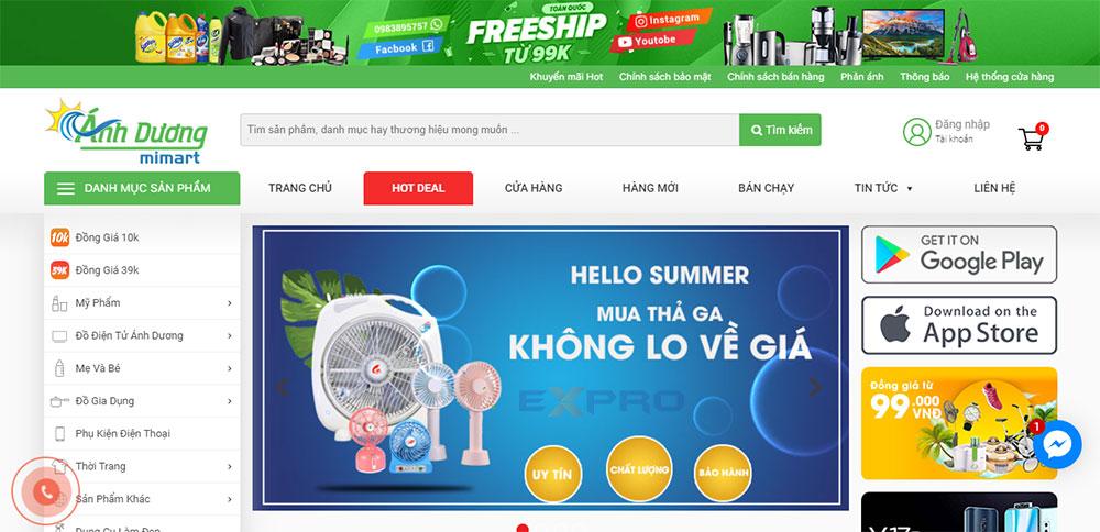 Web bán hàng siêu thị ánh dương