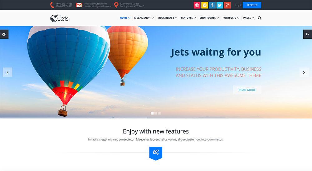 Mẫu web giới thiệu công ty doanh nghiệp Jets