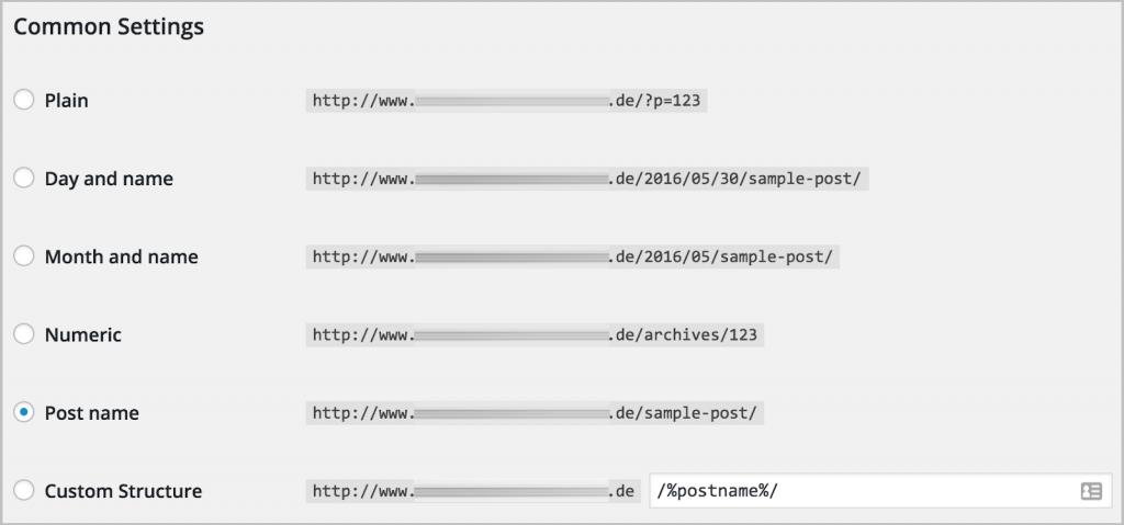 Cài đặt link wordpress