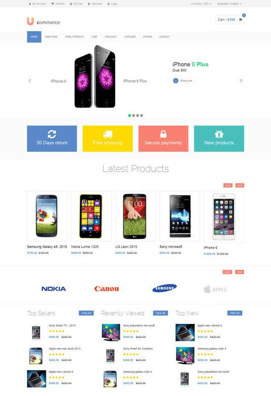 Mẫu website bán hàng Ustora