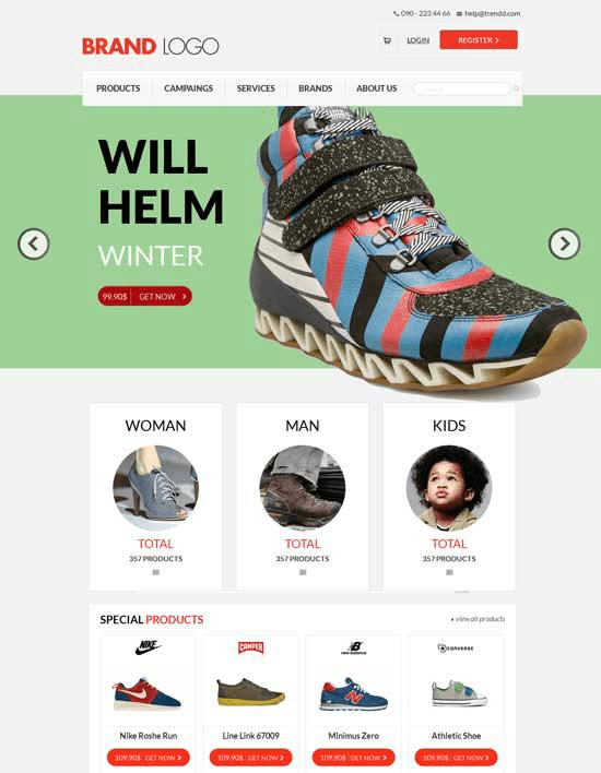 Mẫu trang web bán hàng Brand Logo