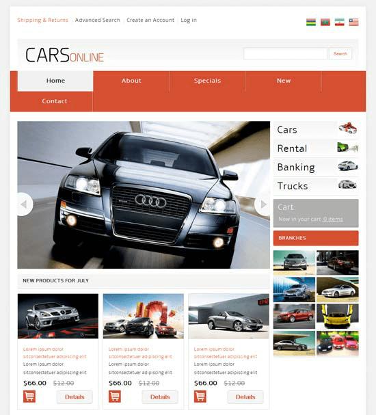 Mẫu web bán hàng ô tô xe máy Cars Online