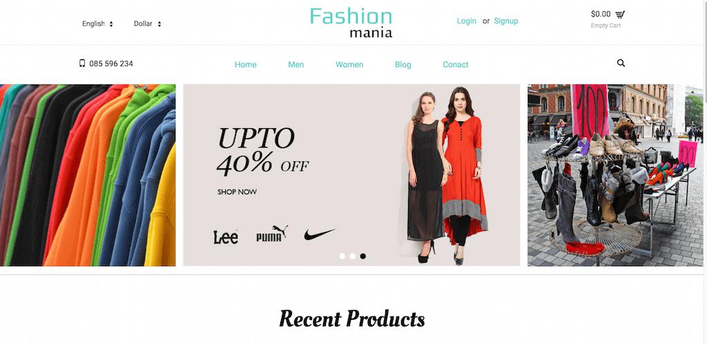 Mẫu web bán hàng thời trang Fashion Mania