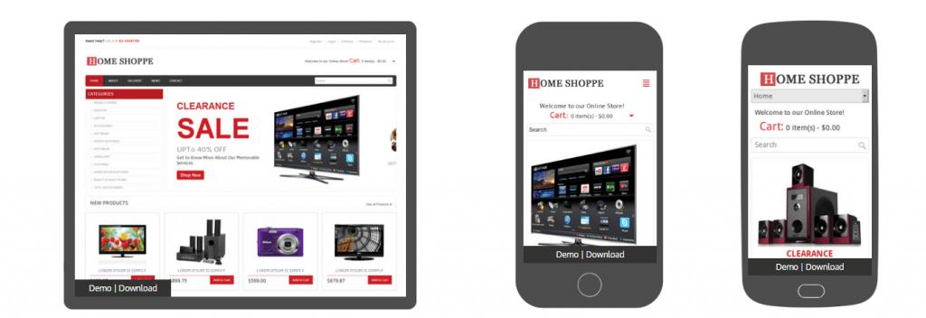 Mẫu website bán hàng điện thoại Home Shoppe Online