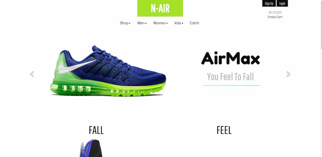 Mẫu web bán giày N-Air
