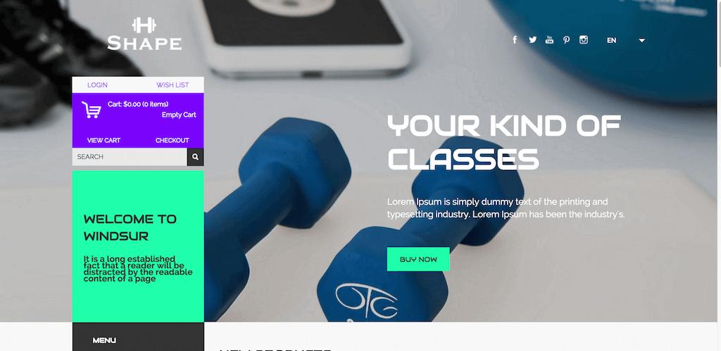 Mẫu web bán hàng về thiết bị phòng tập thể dục Shape