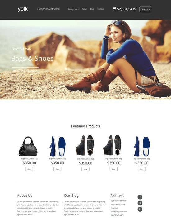 Mẫu website bán hàng Yolk