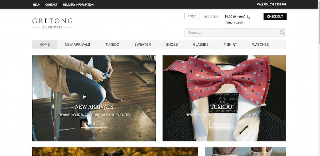 Mẫu web bán hàng Gretong