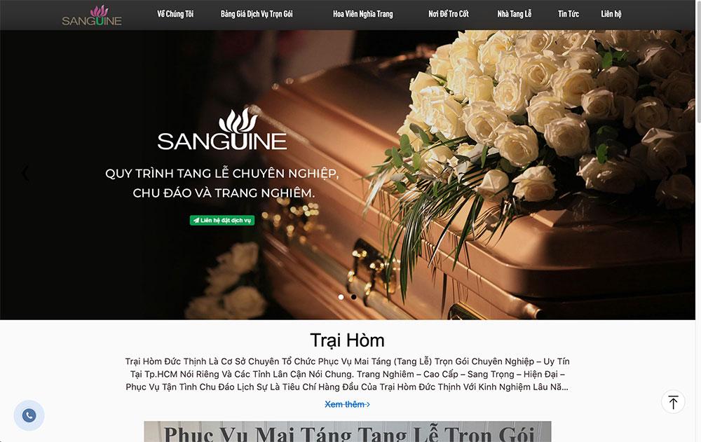Thiết kế web dịch vụ mai táng tang lễ