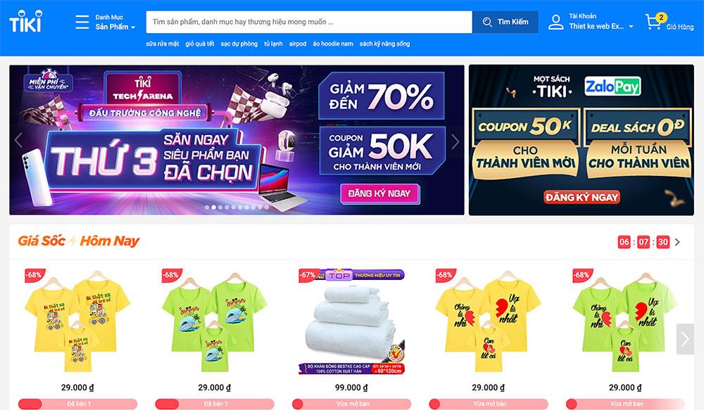 web thương mại điện tử tiki